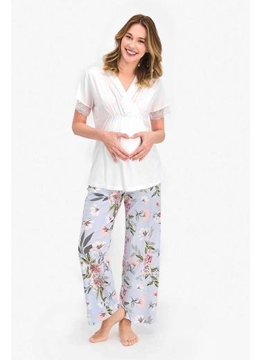 Arnetta Floral Pattern Krem Kadın Lohusa Pijama Takımı Krem